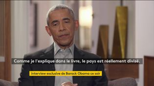 Barack Obama lors de son interview à France Télévisions, diffusée le 17 novembre 2020. (FRANCE 2 / FRANCEINFO)