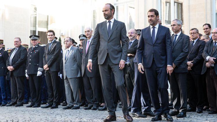 Le Premier ministre, Edouard Philippe et le nouveau ministre de l'Intérieur, Christophe Castaner, le 16 octobre 2018 à Paris. (CHRISTOPHE MORIN / MAXPPP)