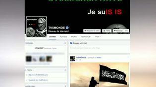 Une capture d'écran du compte Facebook de TV5 Monde piraté le 9 avril 2015, montre la signature de Cyber Caliphate, un groupe de hackers se disant affilié à l'Etat islamique. (AFP PHOTO / TV5MONDE)