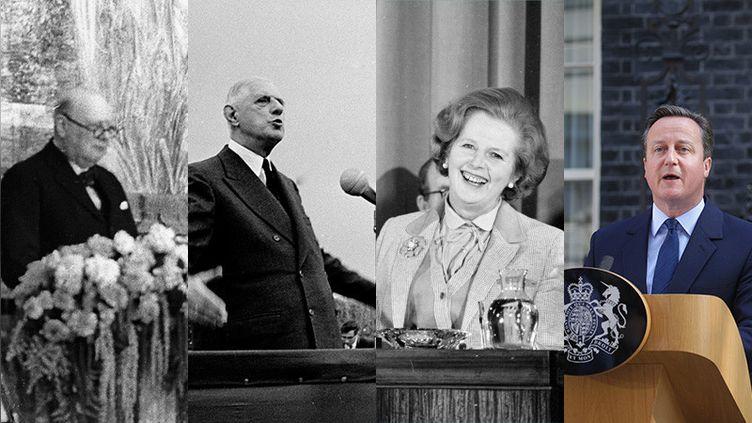 Winston Churchill, Charles De Gaulle, Margaret Thatcher, David Cameron : quatre acteurs de l'Histoire européenne (RDB/ULLSTEIN BILD VIA GETTY IMAGES - GAMMA/RAPHO VIA GETTY IMAGES - GETTY IMAGES - MICHAEL KAPPELER/DPA/PICTURE ALLIANCE/GETTY IMAGES)