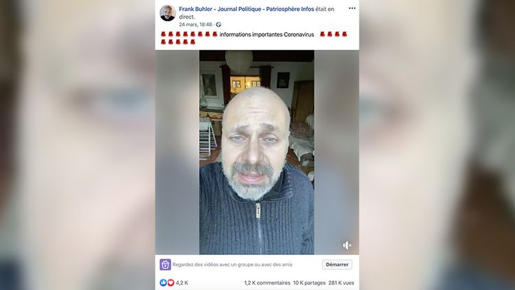 Capture d'écran d'un poste Facebook de Franck Bulher, du mardi 24 mars 2020. (CAPTURE ECRAN)