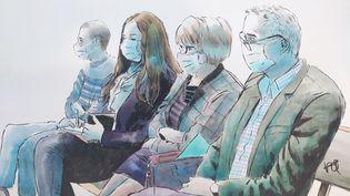 La famille d'Alexia Daval sur les bancs des parties civiles, devant la cour d'assises de la Haute-Saône, le 18 novembre 2020. (VALENTIN PASQUIER / FRANCE TELEVISIONS)