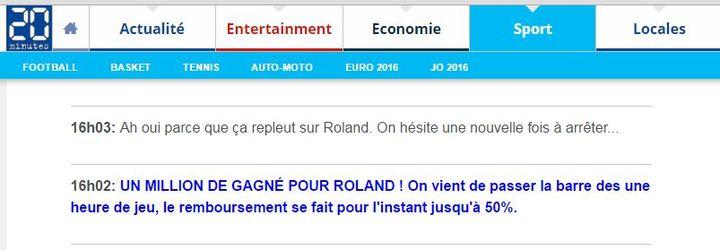 Capture d'écran du direct consacré à Roland-Garros, sur 20Minutes.fr, mardi 31 mai. (20MINUTES.FR)