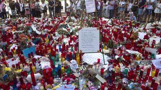 Des hommages aux victimes de l'attentat de Barcelone sur la Rambla, samedi 25 août 2017. (FMB / WENN.COM / SIPA)