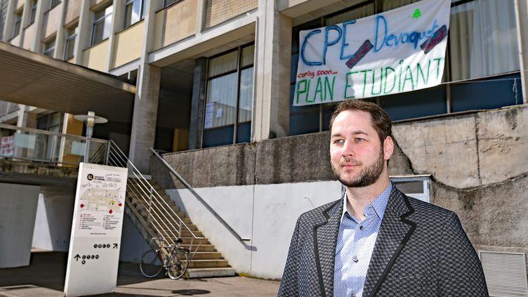 Me Choley, l'avocat des trois étudiants qui ont demandé l'expulsion de étudiants qui bloquent la fac de lettres de Nancy(Meurthe-et-Moselle) le 16 avril 2018. (CEDRIC JACQUOT / MAXPPP)