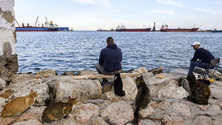 Port de Sousse, où les douaniers tunisiens ont saisi 70 conteneurs de déchets au début de l'été, rapidement suivis de 212 autres conteneurs,le 26 novembre 2020. (FETHI BELAID / AFP)