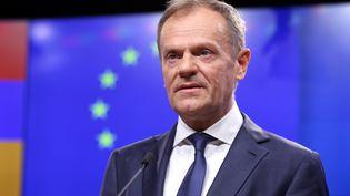 Le président du Conseil européen, Donald Tusk, lors d'une conférence de presse à Bruxelles (Belgique), le 5 mars 2019. (DURSUN AYDEMIR / ANADOLU AGENCY / AFP)