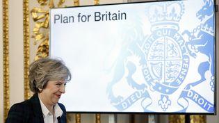 La Première ministre britannique, Theresa May, lors de son discours sur le Brexit à Lancaster House, à Londres, le 17 janvier 2017. (KIRSTY WIGGLESWORTH / AFP)
