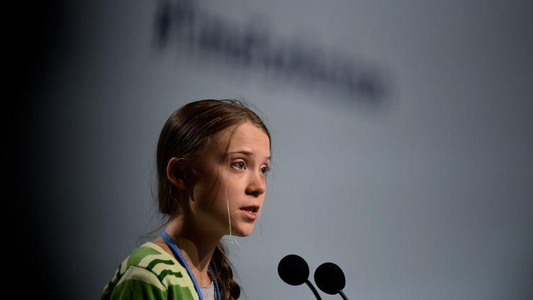 La militante écologiste Greta Thunberg s'exprie lors de la COP25, à Madrid, la capitale espagnole, le 11 décembre 2019. (CRISTINA QUICLER / AFP)