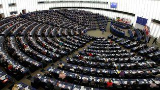 L'hémicycle du Parlement européen de Strasbourg, le 26 mars 2019. (VINCENT KESSLER / REUTERS)