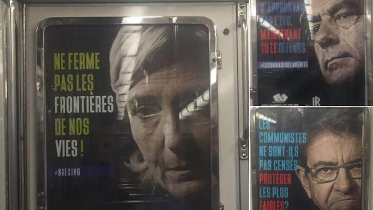 Des affiches anti-avortement, mettant en scène les candidats à la présidentielle, ont été apposées dans le métro à Paris,le26 avril 2017. (FRANCEINFO / LAURENT DELMAS)