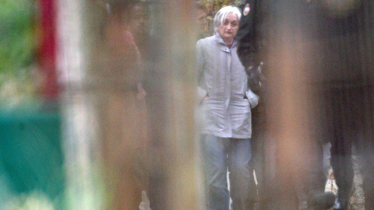 Monique Olivier, ex-femme et complice de Michel Fourniret, participe à une reconstitution du meurtre de Marie-Angèle Domece, le 2 octobre 2018. (MAXPPP)
