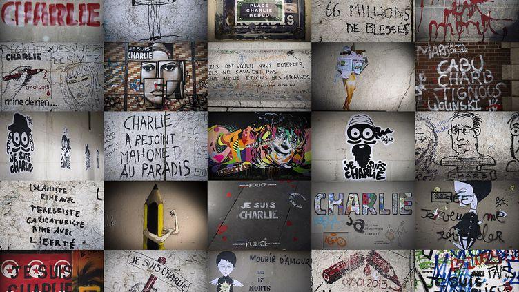 Plusieurs graffitissur des murs parisiens après l'attentat de Charlie Hebdo (JOEL SAGET / AFP)