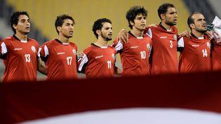Ayman Al-Hajri et l'équipe nationaleyéménite lors des qualifications pour la Coupe d'Asie des nations, à Doha, le 29 mars 2017. (NIKKU / XINHUA)