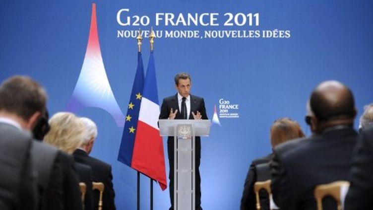 Nicolas Sarkozy lors d'une réunion du G20, le 26 septembre 2011. (ERIC FEFERBERG / POOL / AFP)