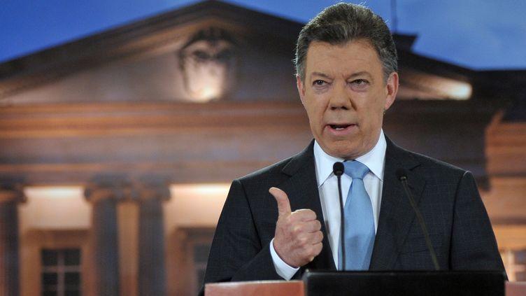 Le président colombien, Juan Manuel Santos, le 27 août 2012 à Bogota. (CESAR CARRION / PRESIDENCIA / AFP)