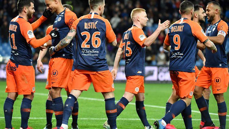 Les joueurs de Montpellier (Hérault), le 29 février 2020 au stade de la Mosson. (PASCAL GUYOT / AFP)