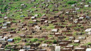 Des milliers de réfugiés vivent dans des abris de fortune à la frontière avec la Tanzanie après des combats acharnés à Kigali, la capitale du Rwanda, le 12 mai 1994. (GERARD JULIEN / AFP)