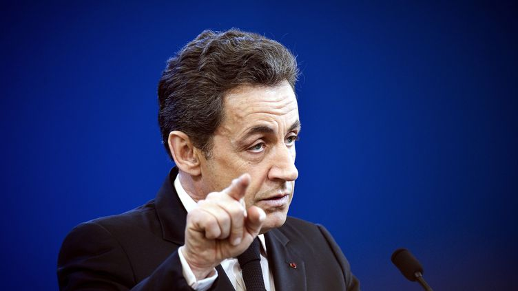 Nicolas Sarkozy, le 9 février à Fessenheim (Haut-Rhin). (LIONEL BONAVENTURE / AFP)