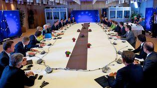 Les dirigeants européens lors du sommet européen extraordinaire consacré à la Grèce, 22 juin 2015 à Bruxelles (Belgique). (EUROPEAN COUNCIL PRESS OFFICE / ANADOLU AGENCY / AFP)