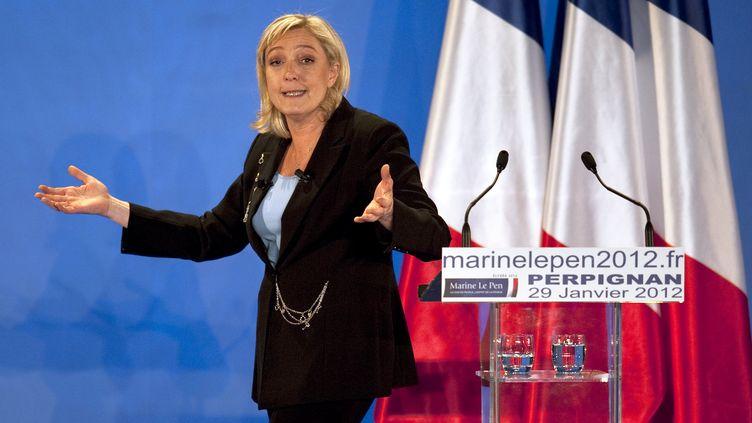 La présidente du Front national Marine Le Pen lors d'un meeting à Perpignan (Pyrénées-Orientales), le 29 janvier 2012. (PASCAL PAVANI / AFP)