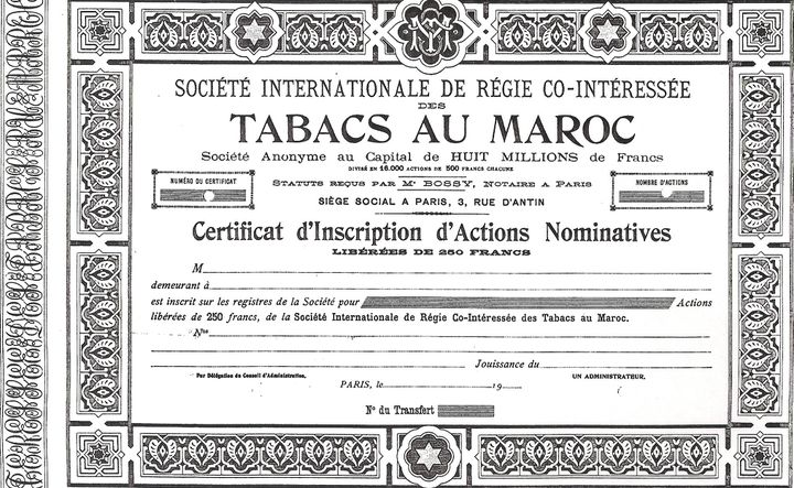 Une action de la régie co-intéressée des tabacs au Maroc. (Avec l'aimable autorisation de M. Yann Bisiou / Archives Paribas)