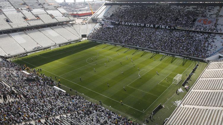 Le stade de Sao Paulo qui va accueillir le match d'ouverture du Mondial 2014, le 12 juin entre le Brésil et la Croatie. (MIGUEL SCHINCARIOL / AFP)