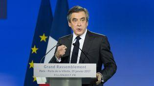 François Fillon prononce un discours à la Villette, à Paris, le 29 janvier 2017. (SERGE TENANI / CITIZENSIDE / AFP)