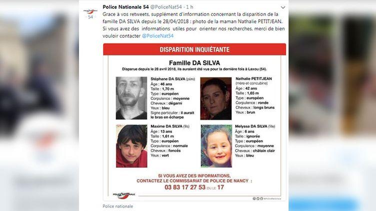 L'appel à témoins de la police deMeurthe-et-Moselle, sur Twitter, le 16 mai 2018. (RADIO FRANCE / FRANCEINFO)