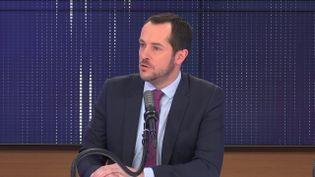 Nicolas Bay, député européen du Rassemblement national, le 27 mars 2021, sur franceinfo. (FRANCEINFO / RADIOFRANCE)