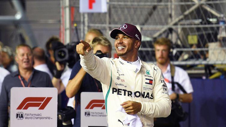 Hamilton remporte la pole position de Singapour. (MANAN  VATSYAYANA / AFP)