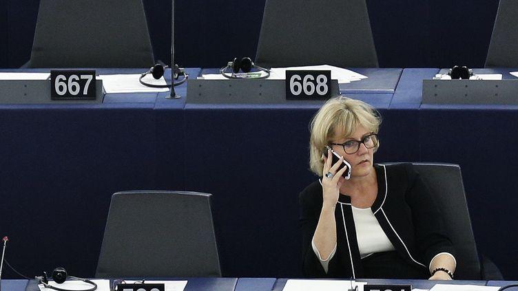 La députée européenne LR Nadine Morano, le 30 septembre 2015 au Parlement européen de Strasbourg (Bas-Rhin). (VINCENT KESSLER / REUTERS)