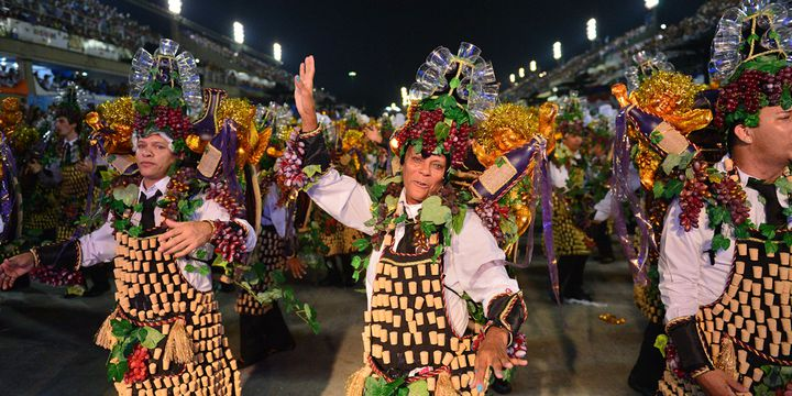L'école de samba de Beija-Flor au sambodrome de Rio, dans la nuit du 2 au 3 mars 2014  (Christophe Simon / AFP)