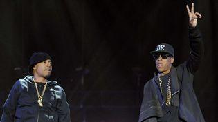 Nas sur scène avec Jay Z, son ancien rival, au festival Coachella 2014.  (Chris Pizzello/AP/SIPA)