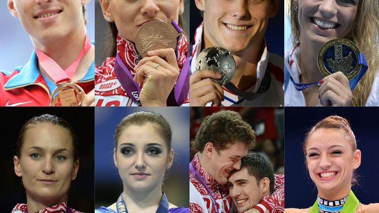 Combinaison de plusieurs athlètes russes qui pourraient manquer les JO à Rio en cas d'exclusion de leur pays par le CIO. (ALEXANDER NEMENOV,JOHANNES EISELE,LLUIS GENE,ALBERTO PIZZOLI,FABRICE COFFRINI,KIRILL KUDRYAVTSEV,KAZUHIRO NOGI / AFP)