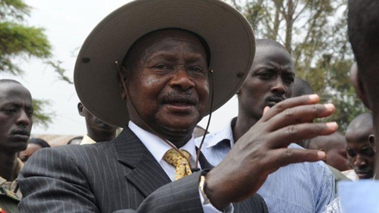 Yoweri Museveni, le 18 février 2011 à Kiruhura, à l'ouest de l'Ouganda. (AFP/SIMON MAINA)