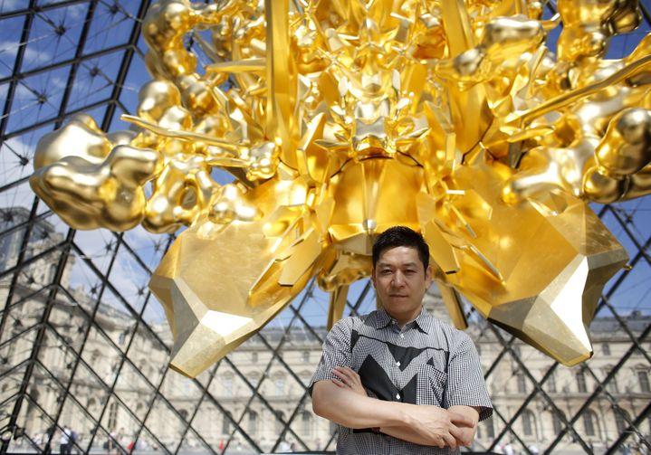 Sculpture de Kohei Nawa installée au Louvre, juillet 2018  ( Thibault Camus/AP/SIPA)