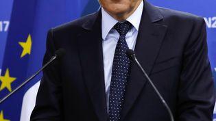 François Fillon, lors de son discours après les résultats du 1er tour de la primaire à droite, qui l'ont placé à la 1ère place. (THOMAS SAMSON / POOL)