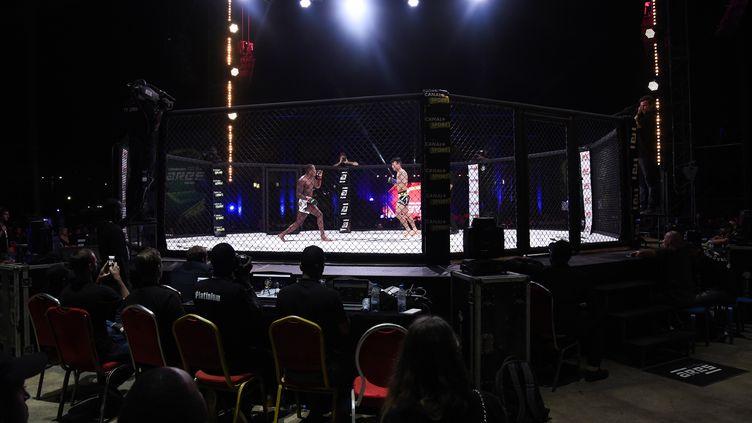 Deux champions d'Arts martiaux mixtes (MMA) s'affrontent à Dakar, le 14 décembre 2019. (SEYLLOU / AFP)