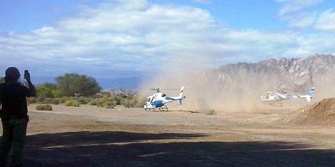 Quelques secondes avant de se heurter, les deux hélicoptères décollent