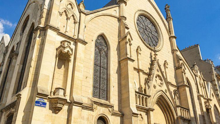 L'église Saint-Eugène-Sainte-Cécile, dans le 9e arrondissement de Paris où a eu lieu une messe sans respects des gestes barrières anti Covid-19 samedi 3 avril 2021. (GARDEL BERTRAND / HEMIS.FR / HEMIS.FR)