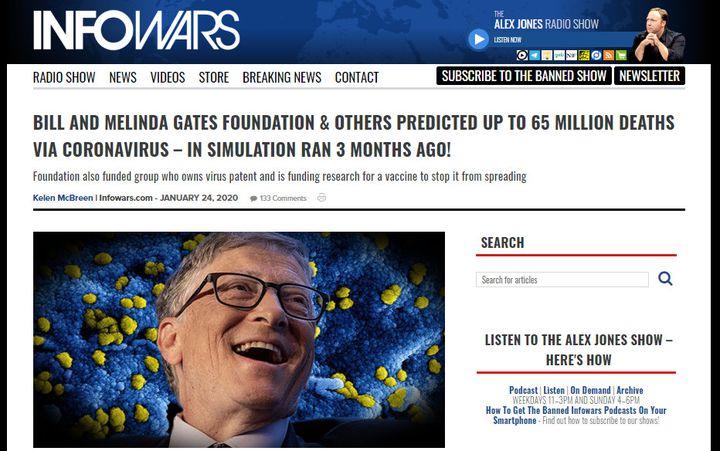 Capture d'écran d'un article du site internet américain conspirationniste Infowars propageant une rumeur à propos de Bill Gates et du Covid-19 en janvier 2020. (INFOWARS)