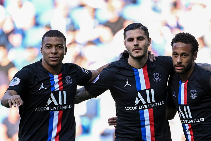 Kylian Mbappé, Mauro Icardi et Neymar (PSG)  (ANNE-CHRISTINE POUJOULAT / AFP)