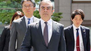 Carlos Ghosn à son arrivée au tribunal à Tokyo (Japon), le 23 mai 2019. (ICHIRO OHARA / AFP)
