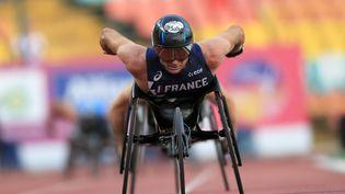 Le Français Pierre Fairbank, le 23 août 2018, en finale du 800 m, catégorie T53, aux Jeux paralympiques de Tokyo. (FLORENT PERVILLE / FEDERATION FRANÇAISE HANDISPORT)