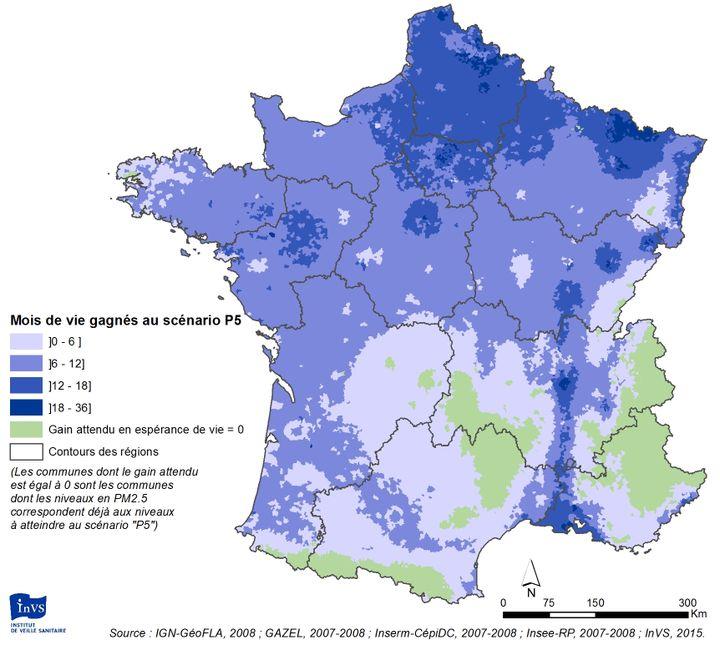 """L'espérance de vie gagnée avec un scénario """"réaliste"""" de réduction de la pollution, selon l'étude de Santé Publique France. (SANTE PUBLIQUE FRANCE)"""