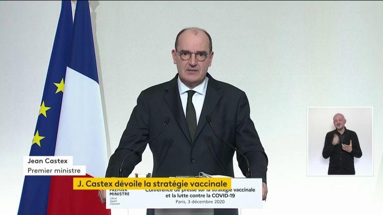 Le Premier ministre Jean Castex lors de la présentation de la stratégie vaccinale de la France, à Paris, le 3 décembre 2020. (FRANCEINFO)