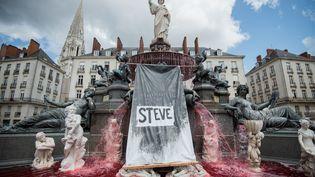 Un colorant rouge a été déversé par des manifestants dans une fontaine à Nantes (Loire-Atlantique), le 30 juillet 2019, au lendemain de la découverte du corps de Steve Maia Caniço dans la Loire. (LOIC VENANCE / AFP)