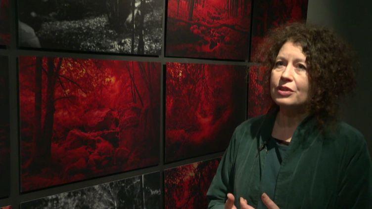 Anne Zénon devant ses photographies (France 3 Bretagne T. Bouilly)