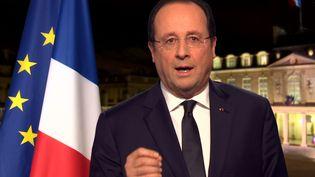 Le président de la République François Hollande, le 31 décembre 2013 poru ses vœux 2014. (FRANCE 2)